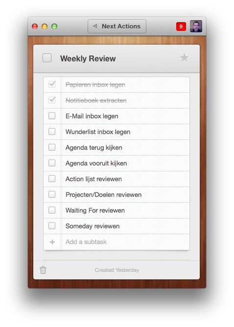Wunderlist Weekly Review